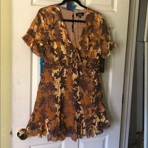 NWT Lulu's mustard yellow velvet burnout dress